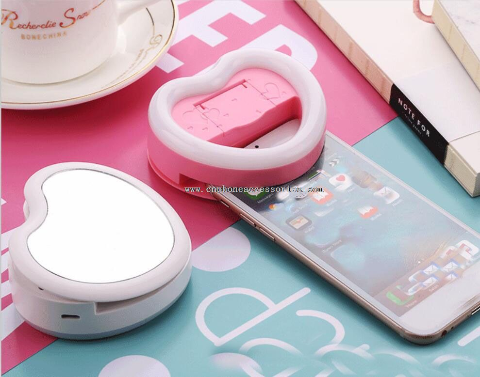 led selfie flash ring light with mirror