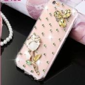 For iPhone 6 Diamonds Stereoscopic Flower Cover Case images