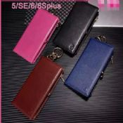 Multi Zipper leather wallet phone case for iphone 6 images