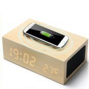 LED MP3 Wooden Bluetooth Speaker Wireless Charger with Clock and Thermometer images