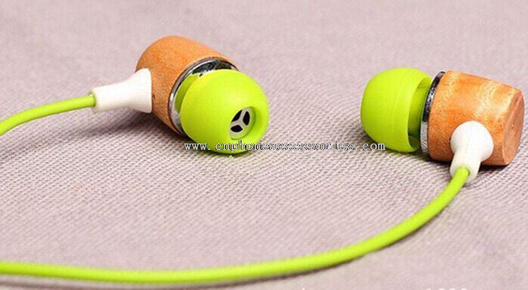 Colorful wooden earphones