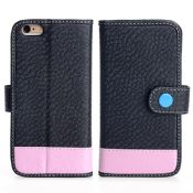 Two Tone Wallet Case For iPhone 6S With Button Flap images