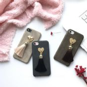 Leather Heart Tassel Pendent Soft Mobile Phone Case for iPhone 7/7 Plus images